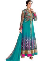 Buy Turquoise Net embroidered semi stitiched salwar with dupatta party-wear-salwar-kameez online