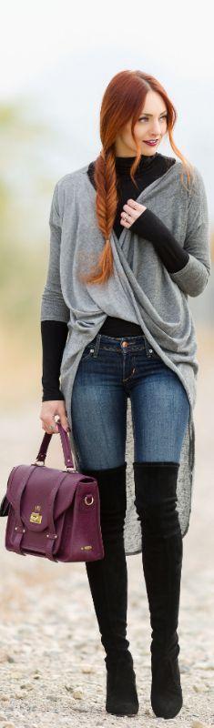GREY WRAP CARDIGAN / Fashion By Little J Style: