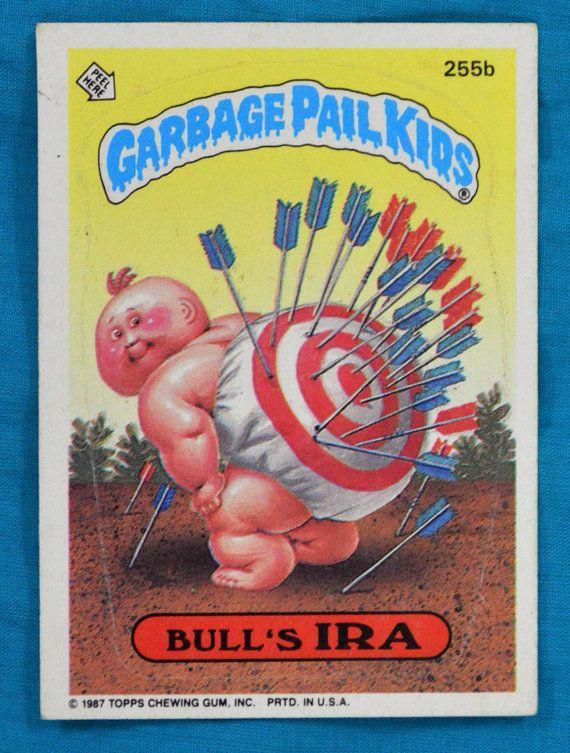 Vintage 80s Garbage Pail Kids Bull's Ira 255b Series 7 Sticker Trading Card on Etsy, $2.00