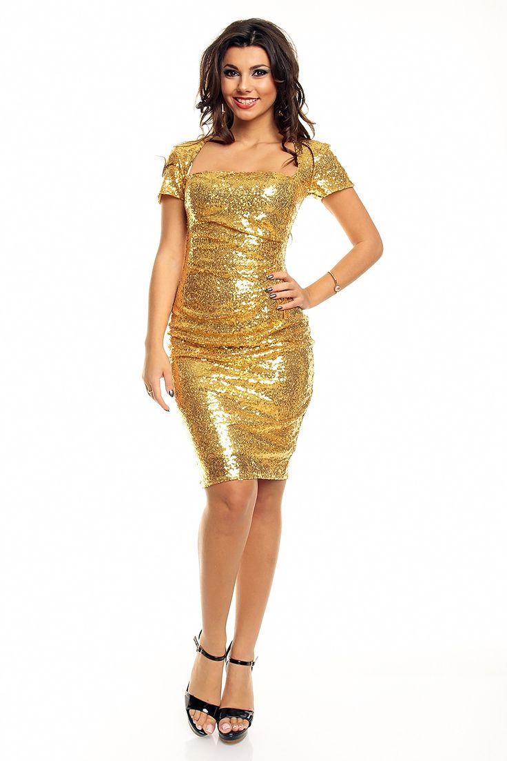 Gull kjole Nine med palyetter
