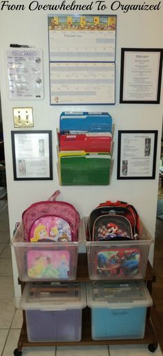 DIY Command Center for backpacks, lunchboxes, schedules, and files for a place to save the kids schoolwork. Brilliant!