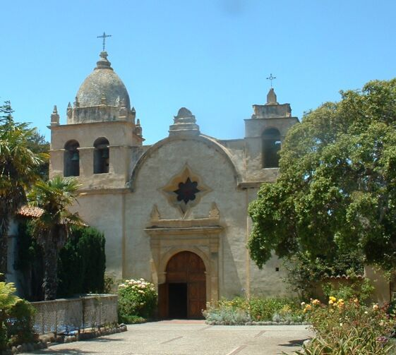 Basilica of the Mission San Carlos Borromeo de Carmelo, Carmel, California, view of the main frontage  Reduced from a photograph taken 16th June 2004 by Stephen Lea.  #juniper300 #latinoheritage #majorca2013