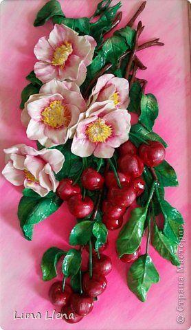 Картина панно рисунок Лепка Спелых вишен аромат Тесто соленое фото 1