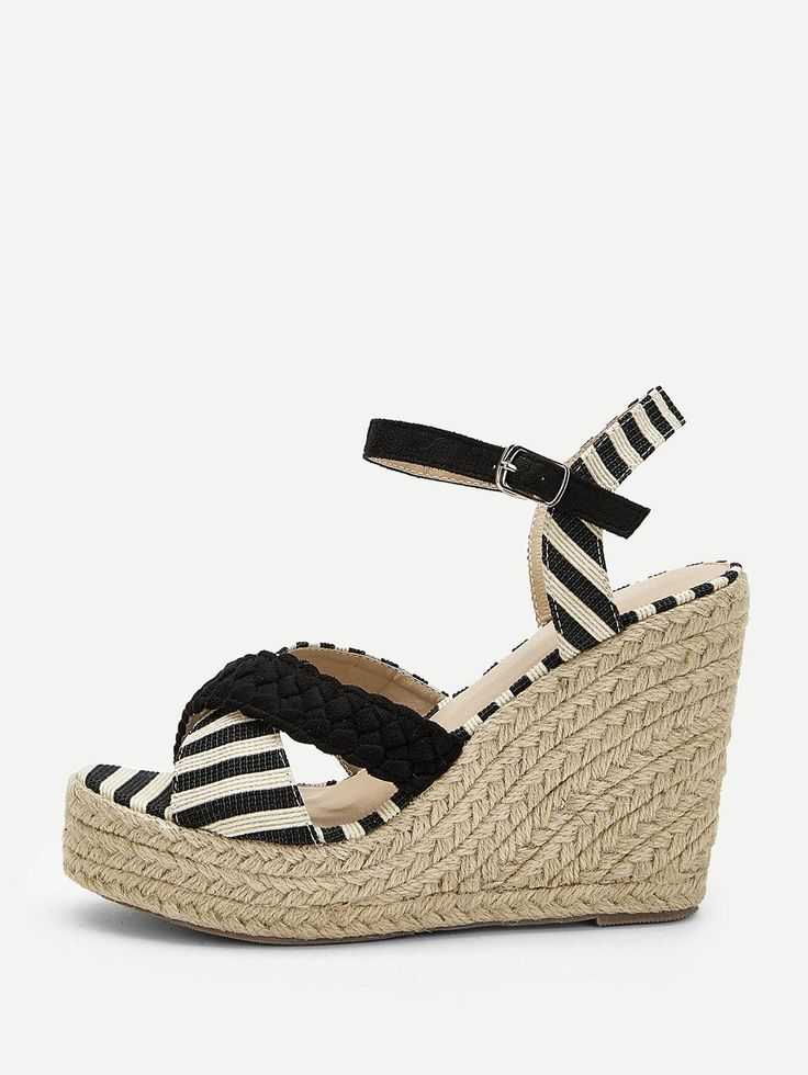 04f5ed104dc Women's Espadrille Wedges Suede Ankle Strap With Black Striped ...