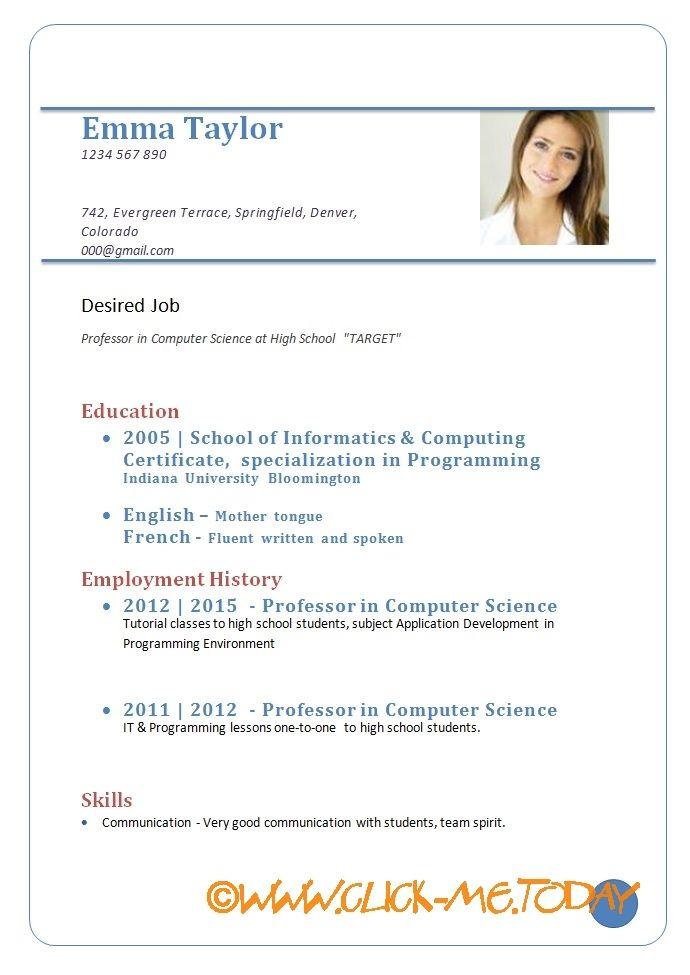 Sample Cv For Job Download Format Doc Pdf Sample Resume Templates Job Resume Template Cv Resume Sample