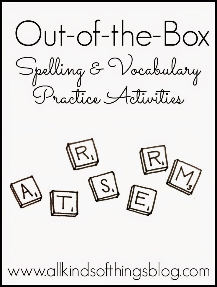 Out of the Box Spelling & Vocabulary Practice Activities (Elementary Learners/All Learning Styles Included) http://www.allkindsofthingsblog.com/2014/02/fun-fresh-ideas-for-elementary-learners.html
