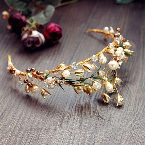 Винтажный свадебный жемчужный Корона золотой лист тиара со стразами свадебный обруч для волос головной убор