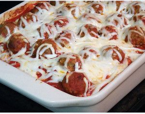 Meatball Sub Casserole - bought meatballs and cheese with bought pasta sauce - yum