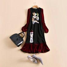 Новые Моды для Женщин Осень Платье 2016 Взлетно-Посадочной Полосы Европейской Дизайнер Старинные Труба/Русалка Полный длинные платье партии стиль(China (Mainland))