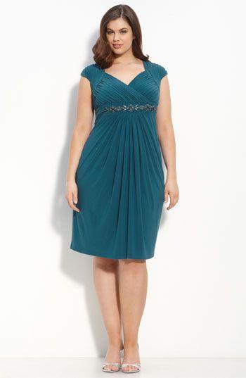 Adrianna Papell Embellished Cap Sleeve Dress (Plus)