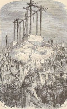 SEMBLANÇAY, Jacques de BEAUNE, baron de -  L'exemple le plus frappant en est le procès intenté à Jacques de Beaune, baron de Semblançay, principal intendant des finances depuis 1518 et accusé lors d'un procés intenté par François I° en 1524, de détournement des fonds destinés à la campagne d'Italie. Bien qu'ayant réussi à se justifier lors de ce procès, il est arrêté en 1527, accusé de concussion, condamné à mort et exécuté au gibet de Montfaucon