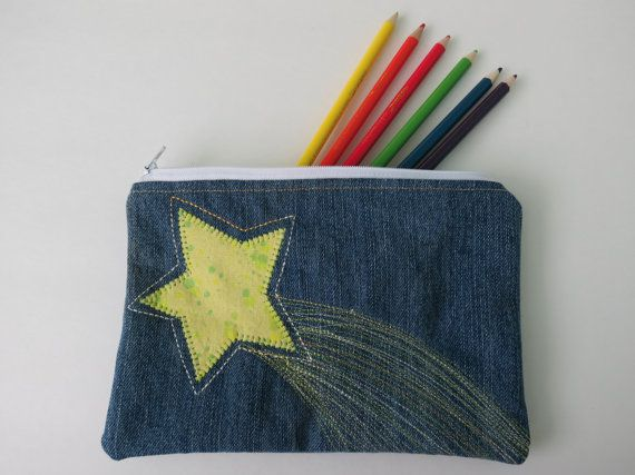 Recycled Denim Pouch pencil case makeup bag craft by StaceyKokot