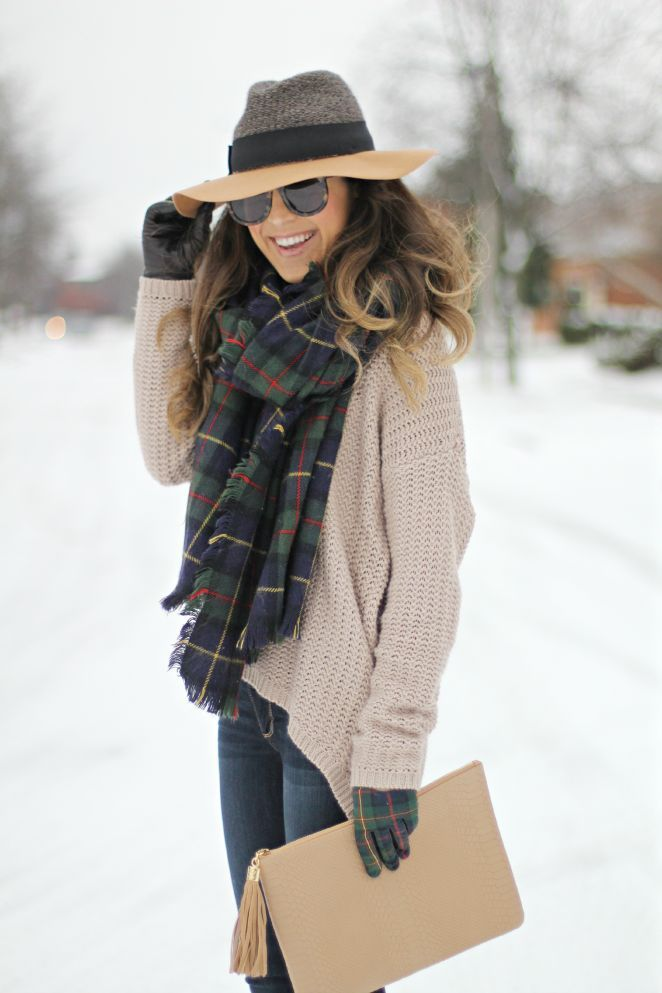 Stylish neutral colors winter outfit with plaid scarf #winter #fashion #hat