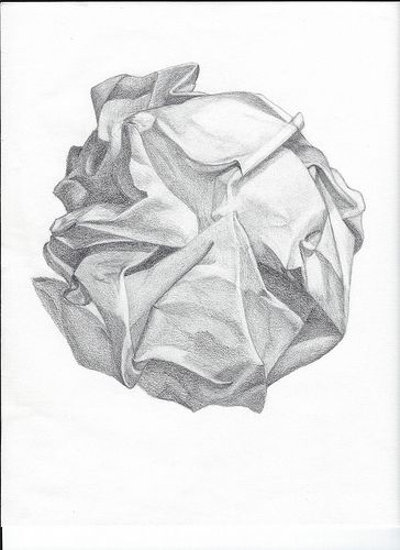 Crumpled Paper Drawing - pencil