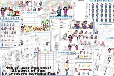 FREE 4th of July Theme Packet printables by Creative Learning Fun! :)