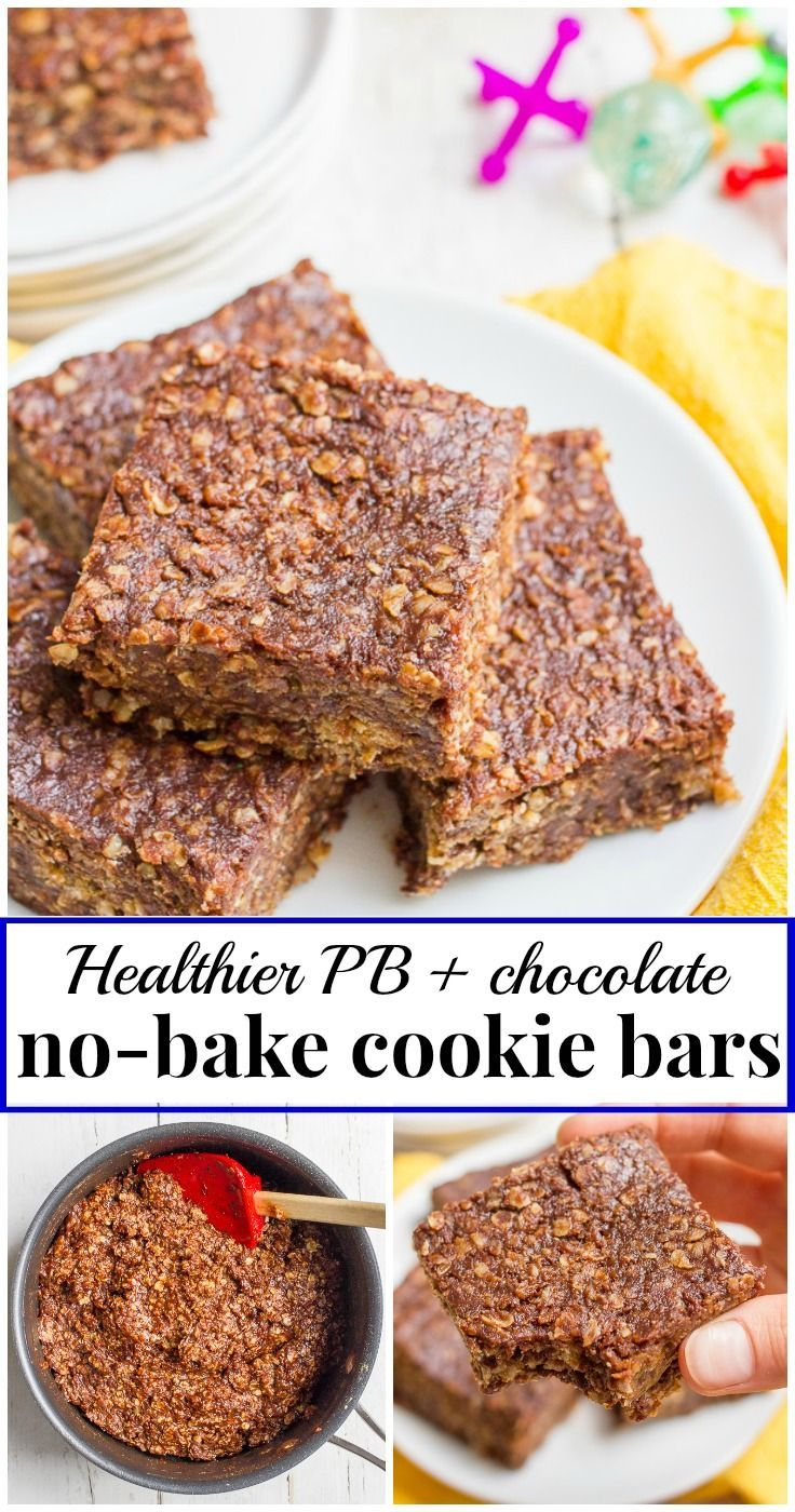 Healthy no bake cookies in bar form - just 6 simple ingredients for these thick, chocolatey dessert or snack