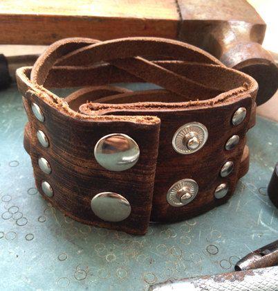 Men's Brown Leather Cuff Bracelet