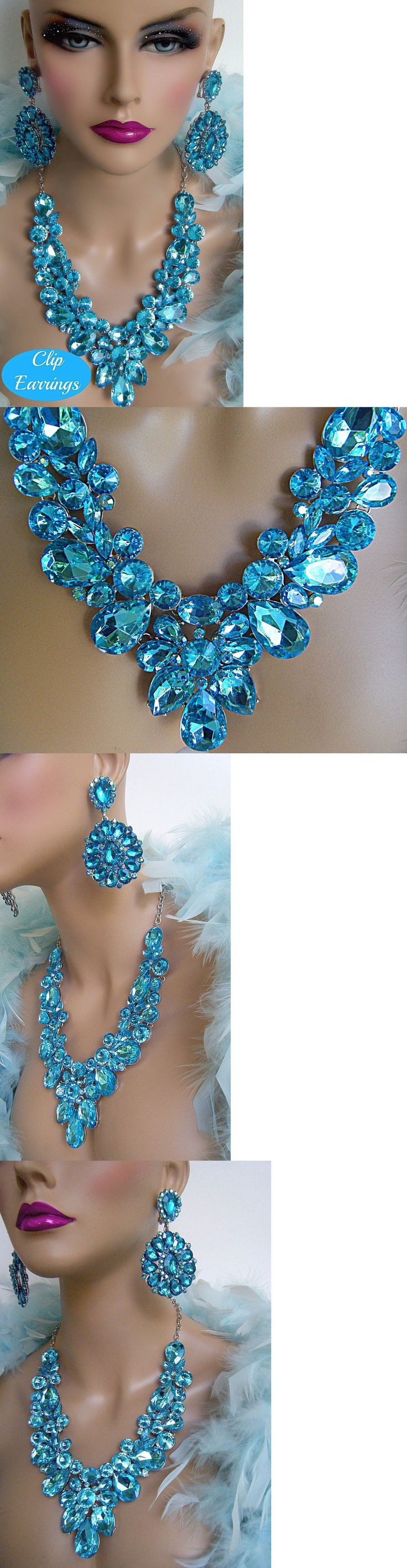 Jewelry Sets 50692: Ab Aqua Crystal Necklace Clip Earrings Set Bridal Pageant Drag Queen Costume BUY IT NOW ONLY: $48.48