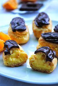 Pane, burro e alici: Eclairs con crema all'arancia e glassa al cioccolato