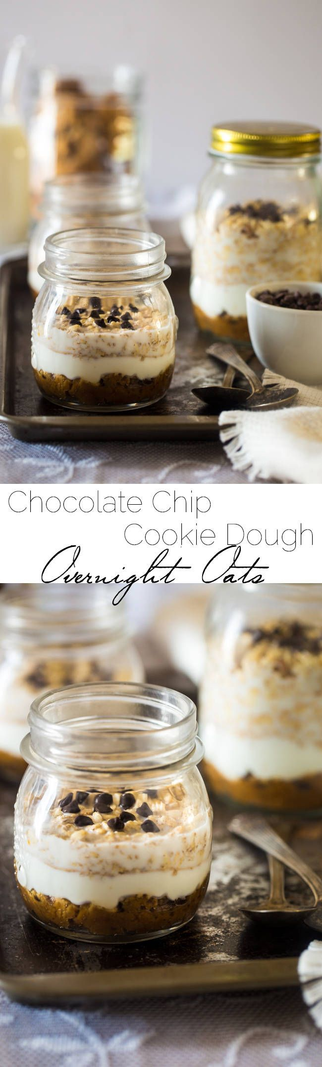 Cookie Dough Overnight Oats - These overnight oats are layered with peanut butter Greek yogurt chocolate chip cookie dough for an easy breakfast that is high protein, and perfect for busy mornings! | Foodfaithfitness.com | @FoodFaithFit