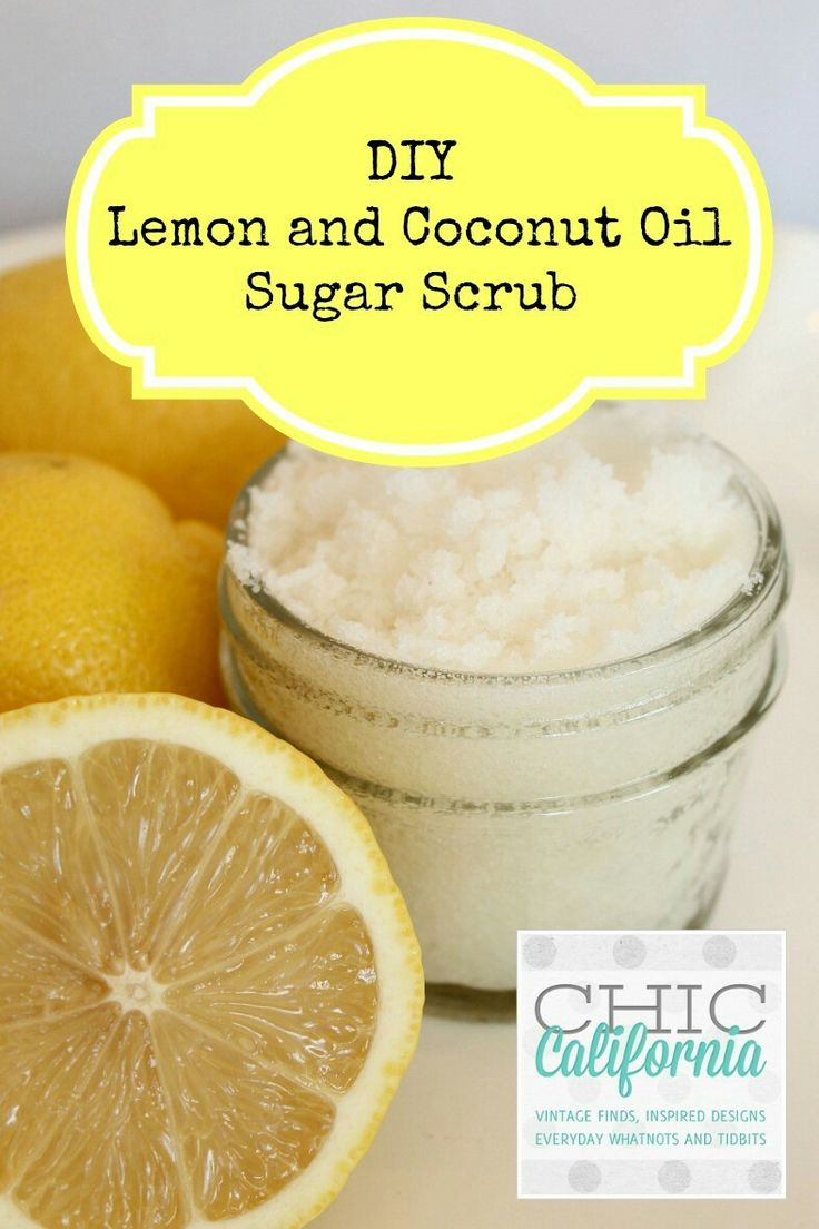 DIY Lemon and Coconut Sugar Scrub:  Measure 2 cups of sugar into a bowl and slowly add 1 cup of melted coconut oil. Mix until your sugar and coconut oil are combined. Your mixture should be more sugary than oily.  Next add about 40-50 drops of Lemon Essential Oil. I love using Lemon Oil because it is antibacterial and antifungal so it's perfect for the kitchen. And it just smells so good! But if lemon is not your thing you can supplement any other citrus oil or even lavender.