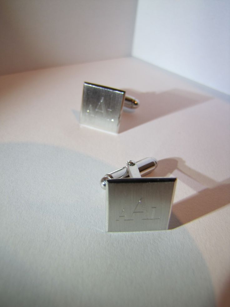 white gold cufflinks with engraving