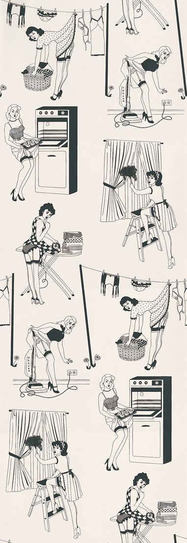 50's Housewife (Half Scale) Black / White wallpaper by Dupenny