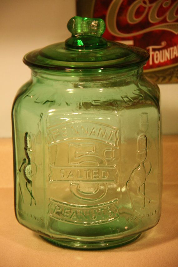 Green Mr Peanut Large Glass Jar