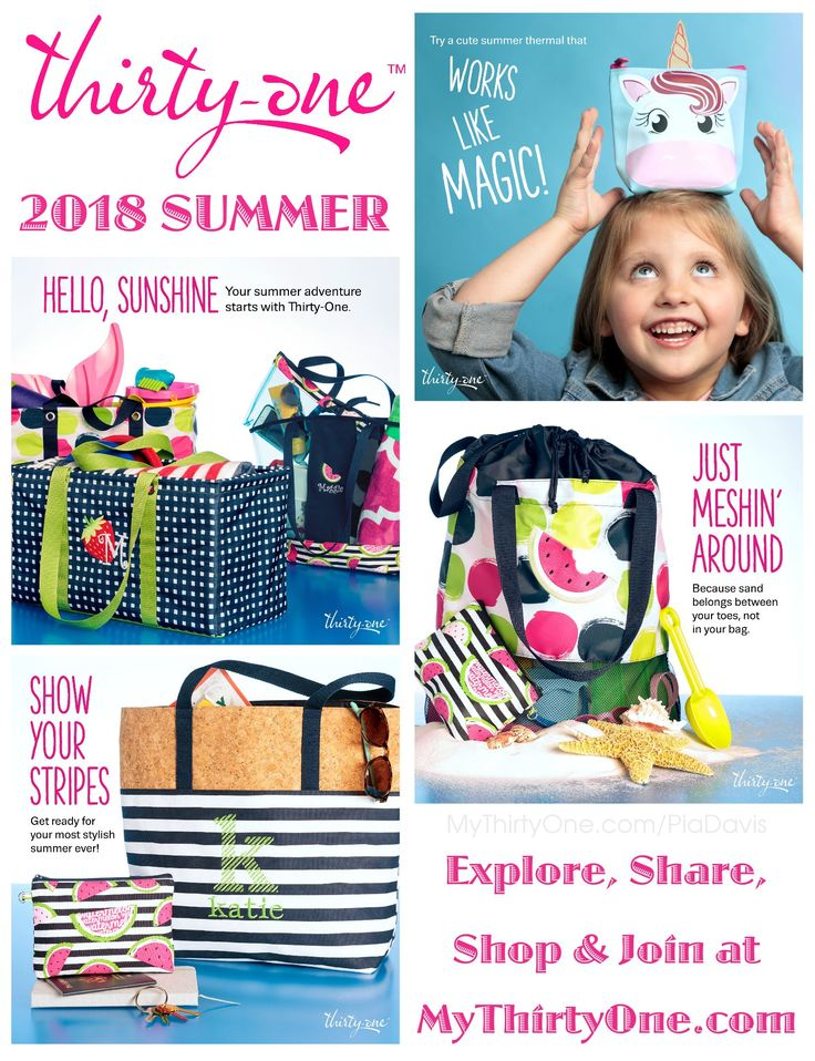 #31 Cute, Cute, Cute... Summer 2018 from Thirty-One Gifts. In April, be on the look out for... Pinch-Top Eye Glass Cases... Crossbody Thermal Totes... Cool Cinch Thermals... Mesh Mix Cinch Bag... In The Clear Tote & Zipper Pouch... Summer Fun Caddy... Bring A Bottle Thermals... Game On Set... Cool Zip Snackers. New prints include Slice of Summer, Going Gingham, On The Spot and more. See everything on MyThrityOne.com/PiaDavis or find your consultant in the upper right corner.