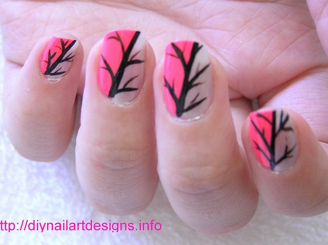 Easy Nail Art Designs: Pink and Silver Abstract Nail Design by DIYNailArtDesigns, via Flickr