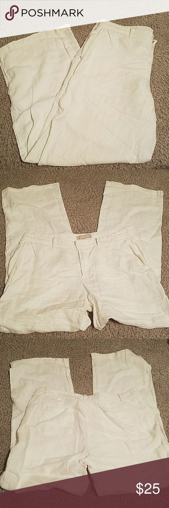 Banana Republic white linen trousers From their Cruise collection a few years back, wonderfully light and airy wide leg white linen trousers by Banana Republic in a size 8. They look beautiful with a strappy wedge. These have not fit me for quite some time, and have sat in my closet. They could do with a press. Other than that the only flaw that I could find was a very small spot on the back left, just to the left of the pocket, as shown in the last picture. Banana Republic Pants Trousers