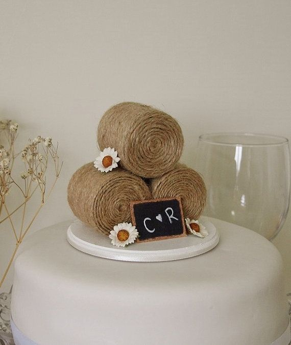 Rustic Country Wedding Cake Topper  Hay Bale by TiaLovesArchie