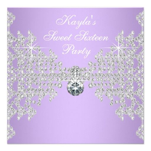Diamonds Lavender Purple Sweet 16 Birthday Party Custom Invitation