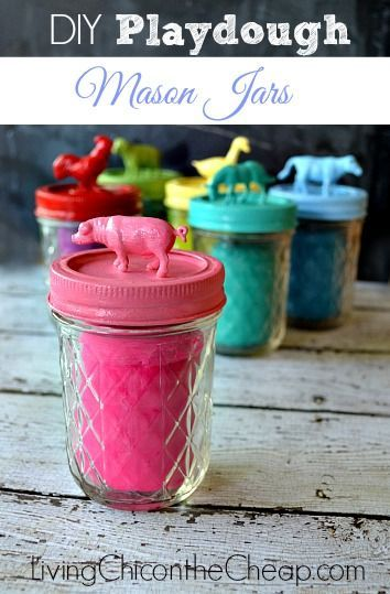 Learn how to make these Playdough Mason Jars over at Living Chic on the Cheap...