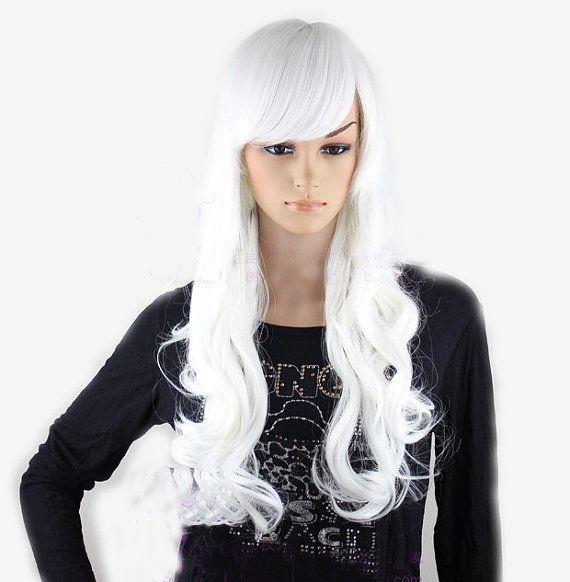 Check out White long curly wig. white hair Synthetic wig -high quality wig on wigglywigs