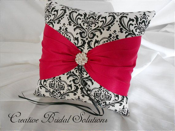 Black and White Madison Damask with Cerise Pink by CreativeBridal, $35.00