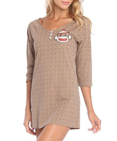 Look what I found on #zulily! Brown Sock Monkey Nightgown by Undergirl #zulilyfinds