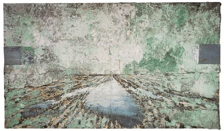 The Land of the Two Rivers (Zweistromland), 1995.,Emulsion, acrylic, lead, salt through electrolysis and zinc plates-condenser, on canvas.,416 x 710
