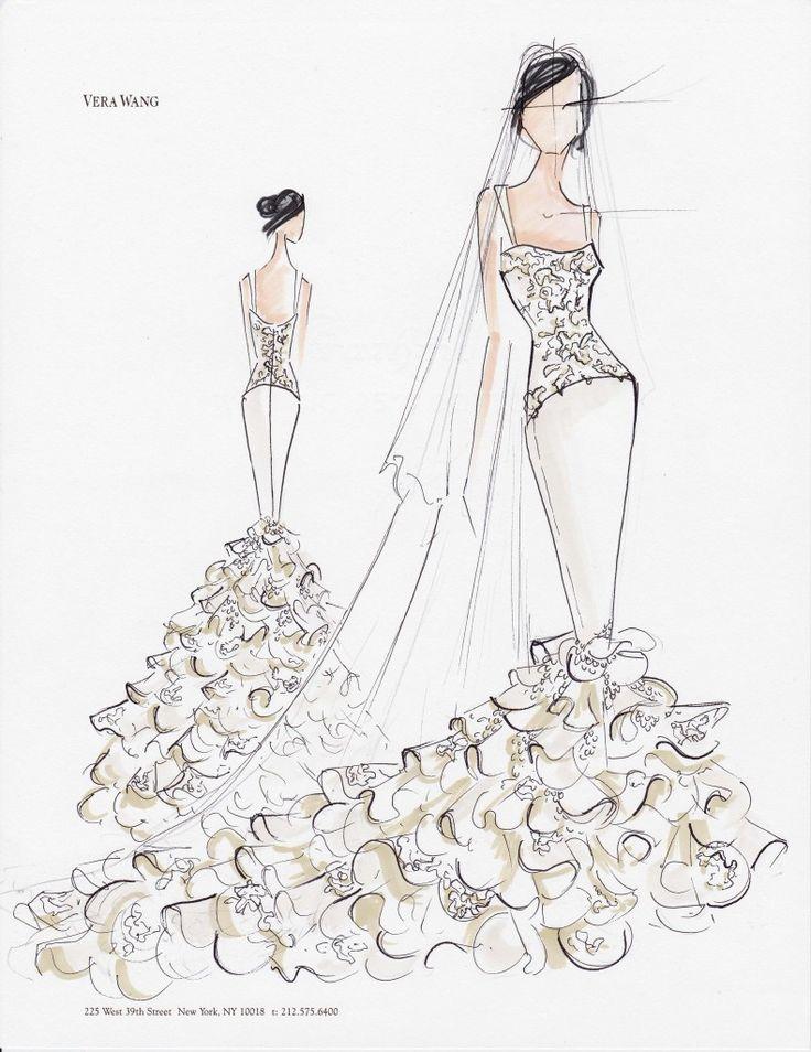 via vera wang sketches of kim kardashians wedding gown when i saw this