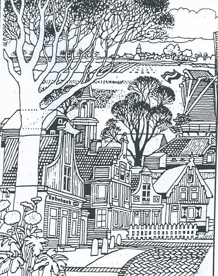 Townscape Adult ColoringColoring SheetsColouringCityscapesMarkersAdult