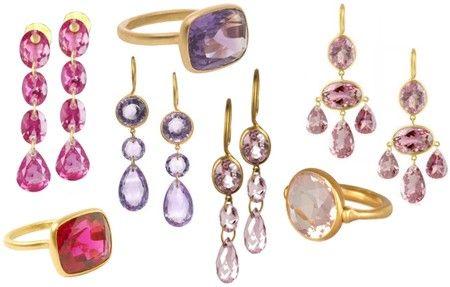 Marie-Helene de Taillac pink & purple stones, earrings & rings