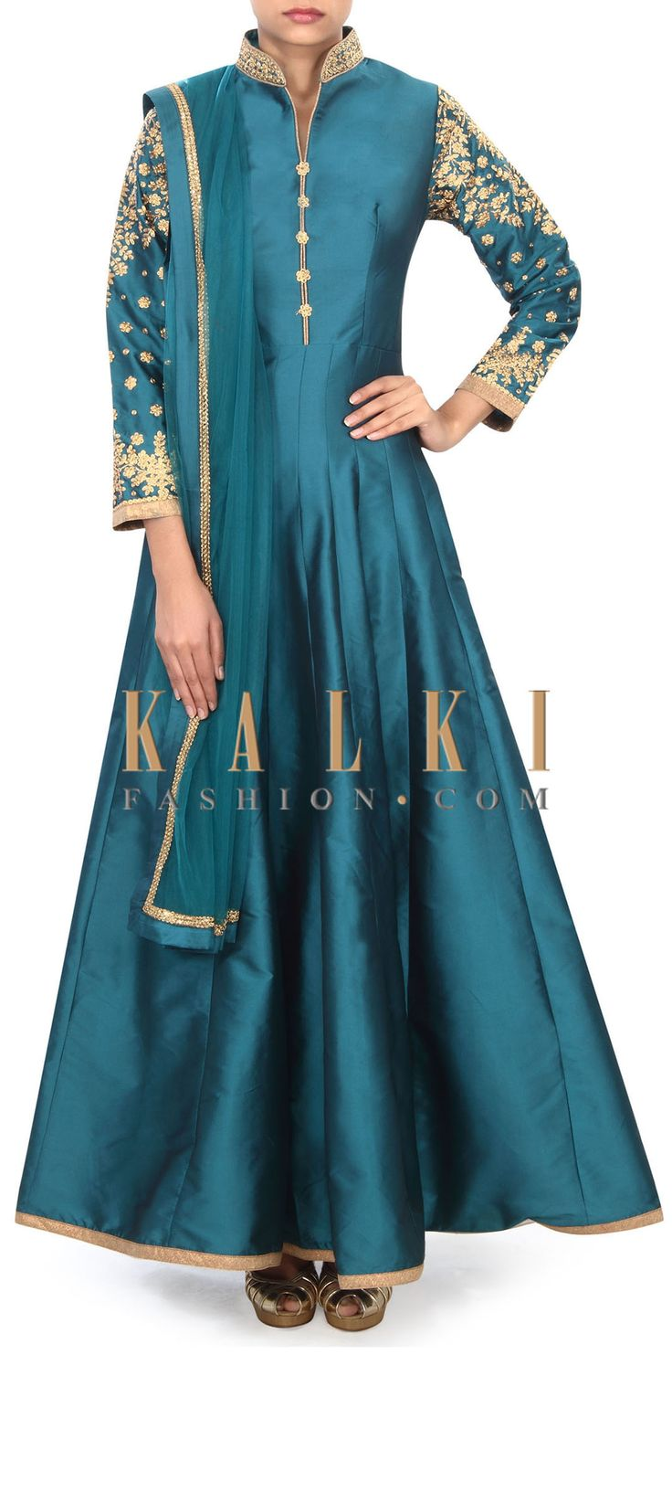 Buy Online from the link below. We ship worldwide (Free Shipping over US$100) Price- $129 Click Anywhere to Tag http://www.kalkifashion.com/teal-green-anarkali-suit-adorn-in-collar-and-sleeve-embroidery-only-on-kalki.html