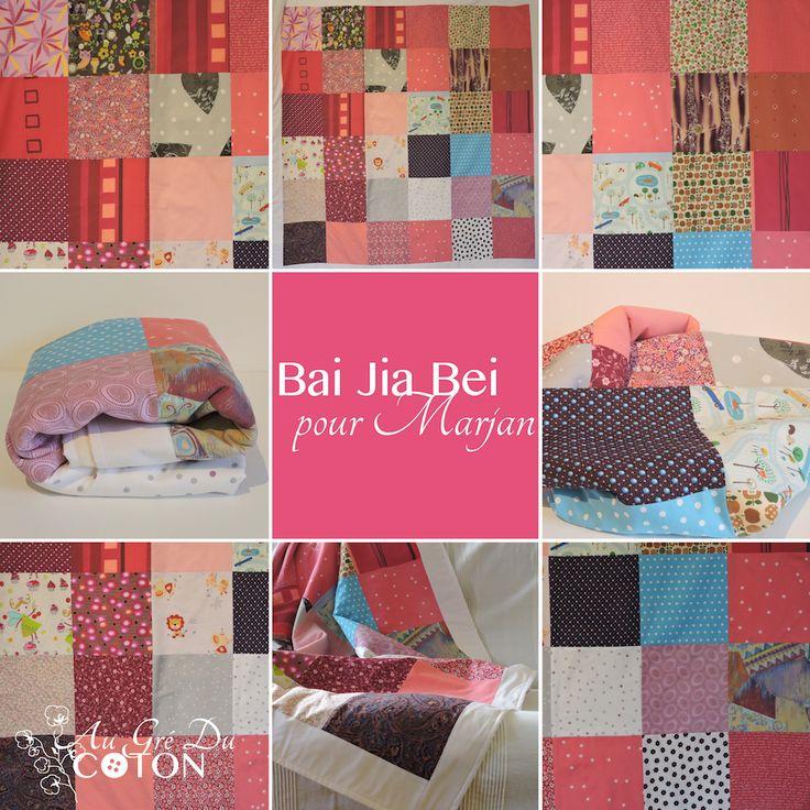 BAI JIA BEI Assemblé en Janvier 2016  Nombre de voeux : 36 Dimensions : 140 cm x 140 cm  Composition : Coton et flanelle de coton bio Couleur dominante : Multicolore  Evènement : Lui dire qu'elle est entourée de personnes qui la soutienne ! #baijiabei