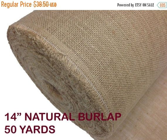"ON SALE 14"" Inches Wide 50 Yards 10OZ Natural Burlap Jute Fabric Roll"