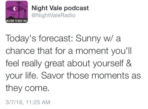 Today's forecast: Sunny w/ a chance that for a moment you'll feel really great about yourself & your life. Savor those moments as they come. #nightvale