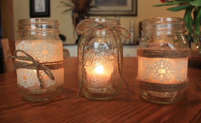 décoration de salon bocal et serviette avec bougies