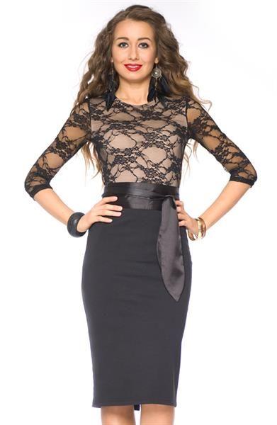 Платье с черной юбкой и кружевным верхом