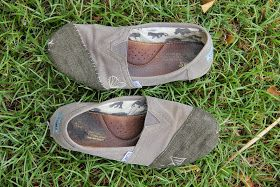 DIY Toms repair to patch holes using shoe glue.