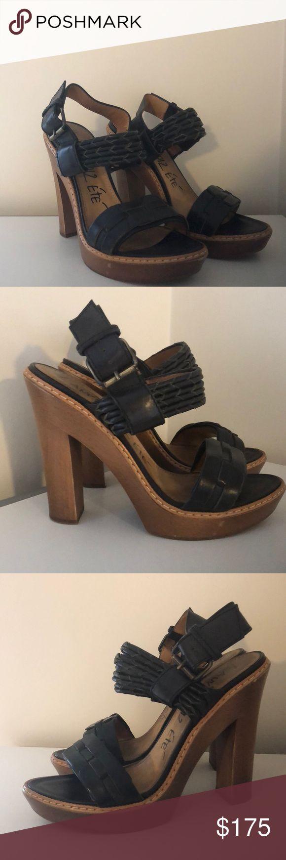 Lanvin Block Heel Sandals Black leather Lanvin sandals with block heel. Good condition. Size 38.5 or US 8.5. Lanvin Shoes Sandals