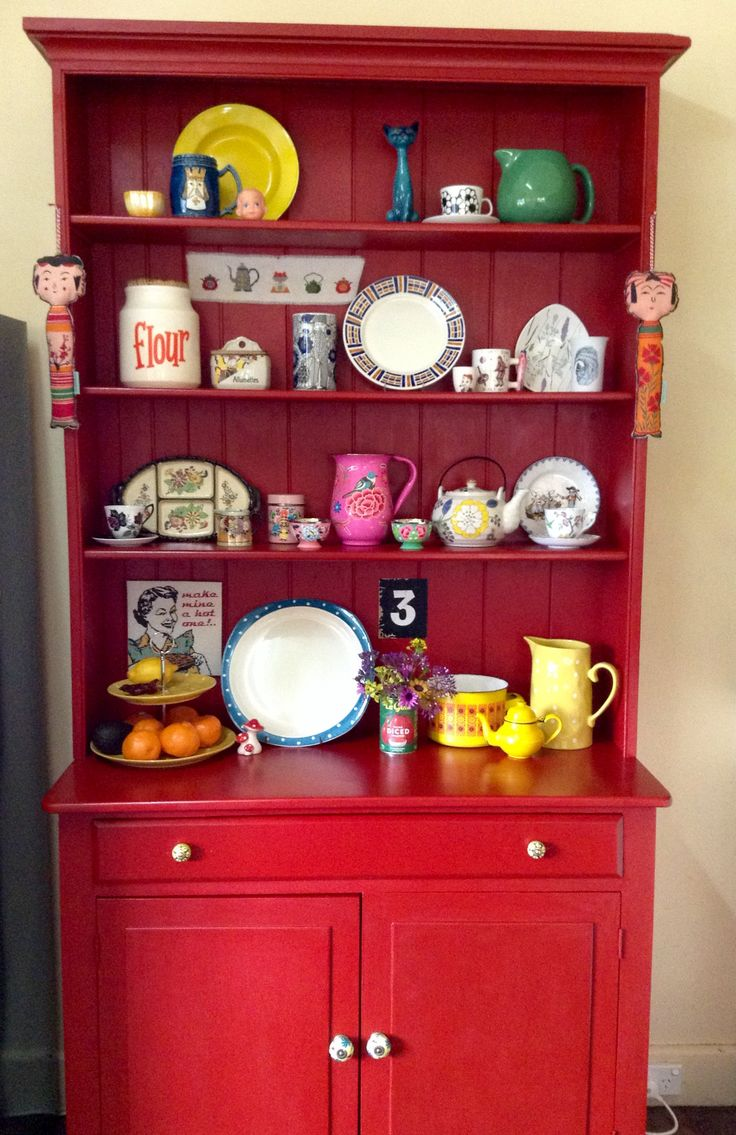 Our kitchen dresser, which used to be Mum and Dad's, revamped with Annie Sloan's 'Emperor's Silk' red! It makes everything on it pop!